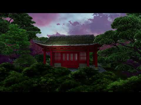 ( CGI 4k Stock Footage ) Japansese asian buddhist architecture temple zen garden 13