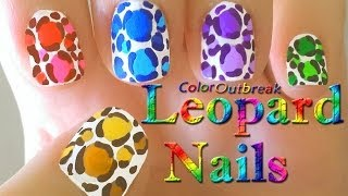 ღLeopard Print Spots Easy Nail Art Designs- Colorful Animal Print Tutorial- Collaborationღ
