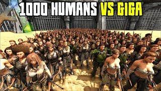 1,000 HUMANS VS GIGA   ARK SURVIVAL EVOLVED