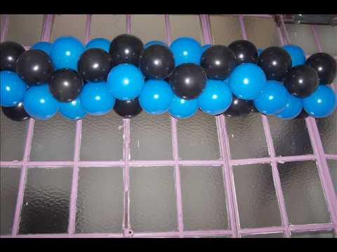 Decofer ambientacion con guirnaldas de youtube for Decoracion de globos para hombres