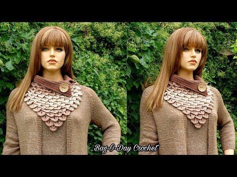 How To Crochet Crocodile Stitch Bandana Cowl   Mocha Rain   BAGODAY CROCHET TUTORIAL #524