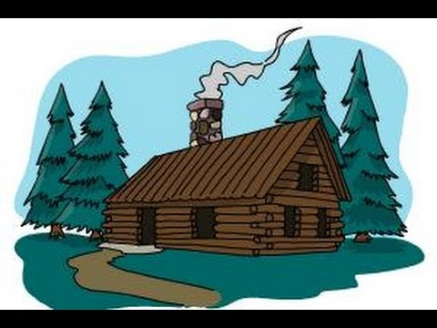 How to draw a log cabin youtube for How to draw a log cabin step by step
