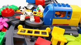 Building Blocks Toys for Children Toy Train and a Dog