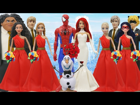 Thumbnail: Play Doh Spiderman Mary Jane Moana Maui Elsa Jack Frost Anna Kristoff Olaf Lady Bug Cat Noir OLAF