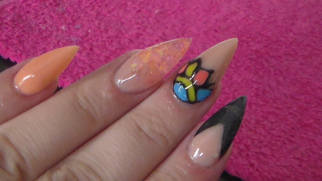 acrylic nails peach and black