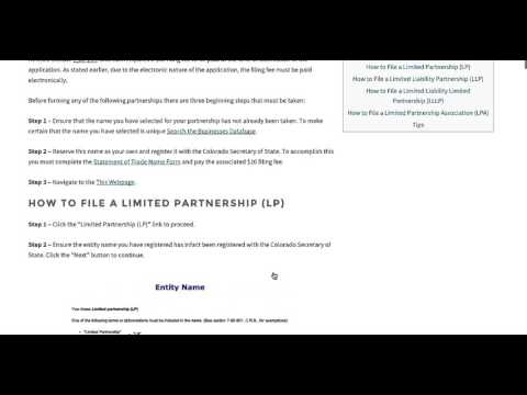 How to Start a Partnership (LP, LLP, LLLP, LPA) in Colorado | Secretary of State