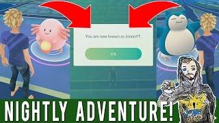 NAME CHANGE! Pokemon GO Nightly Adventure! Rare Spawns & Name Changing My Account!