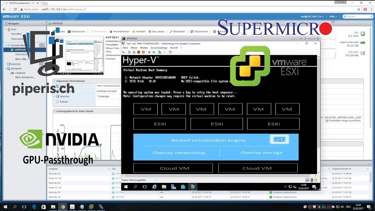 Nested Virtualization (Hyper-V - Server 2016) & GPU-Passthrough on ESXi  6 5 0
