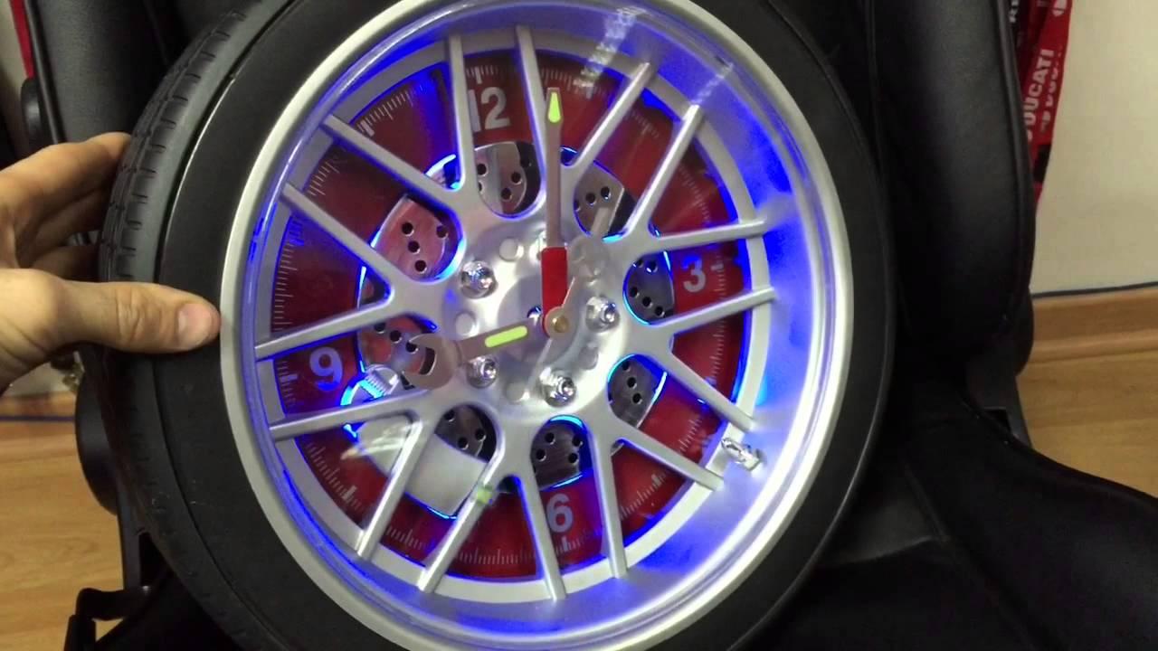 Llanta auto reloj mural con luz led azul solo en oxs youtube - Como hacer un reloj de pared ...