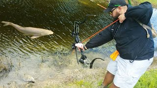 BOWFISHING in SLOW MOTION for INVASIVE FISH with New HIGH TECH BOW!