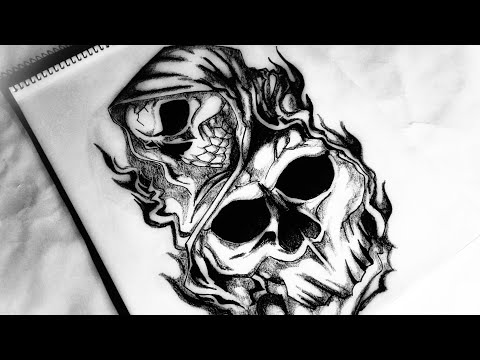 How to draw a Grim Reaper Tattoo design | Body Tattoo | 2018 update