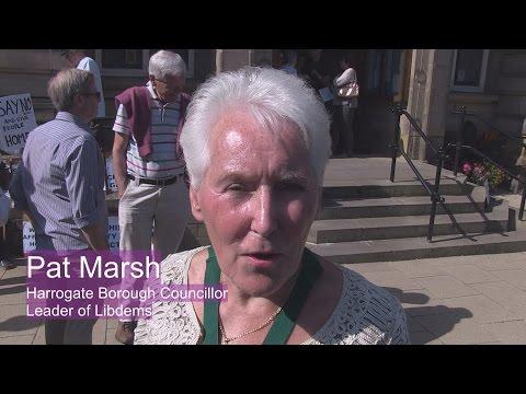 Protest against Harrogate Borough Council Office build - Councillor Pat Marsh Libdems
