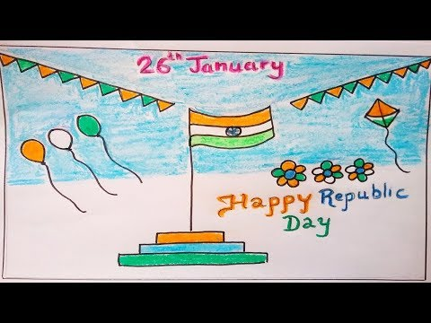How to draw Republic Day easy for kids. Easy India Flag drawing