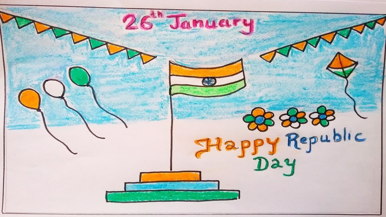 How to draw Republic Day easy for kids. Easy India Flag ...