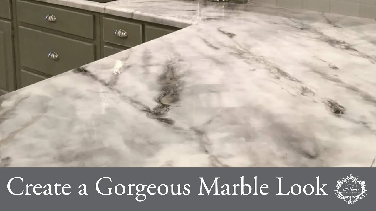 Create A Gorgeous Marble Look With Glazed Over One Step Paint Youtube
