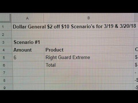 $2 Off $10 Dollar General Scenarios for 3/19 & 3/20