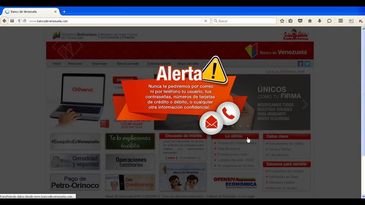 Reimprimir comprobante de transferencia banco de venezuela Banco venezuela clavenet