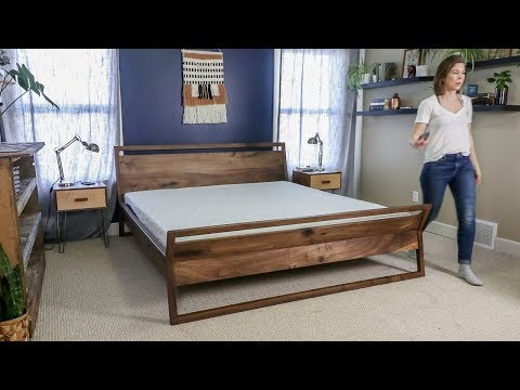How to make a Kingsize Bed Frame // Mid Century Modern Sleigh Bed // Do it Yourself (DIY)(2019)