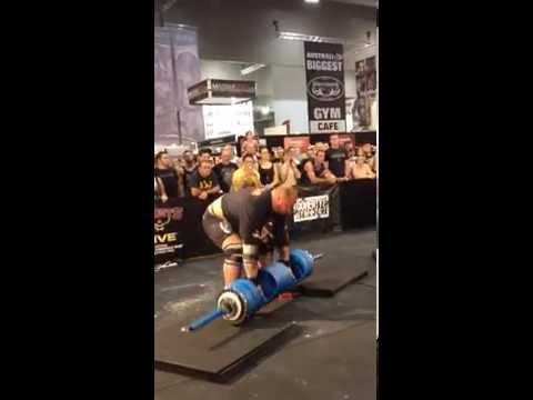 Hafthor Thor Bjornsson Strongman 140kg 310lbs Log Press for Reps Giants Live Melbourne 2014