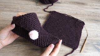 Следки из квадратов спицами | Square slippers knitting pattern