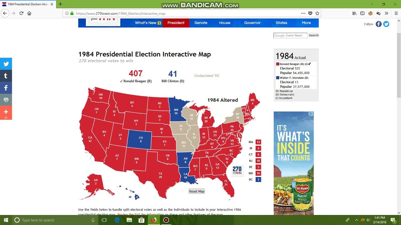 Ronald Reagan vs. Bill Clinton 1984 Election Alternate history - YouTube