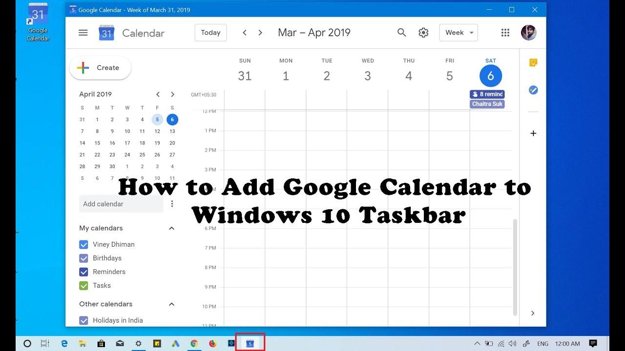 How to Add Google Calendar to Windows 10 Taskbar