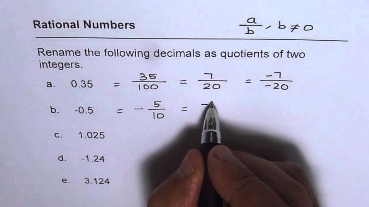 Write decimals as rational numbers with integer quotients youtube write decimals as rational numbers with integer quotients falaconquin