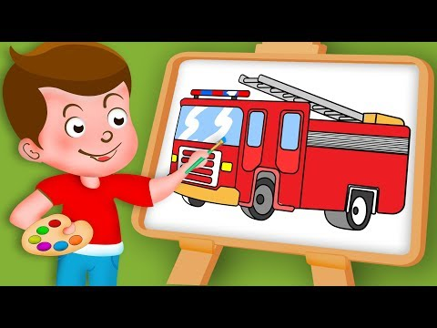 Drawing Fire engine Paint And Colouring For Kids | Kids Drawing TV