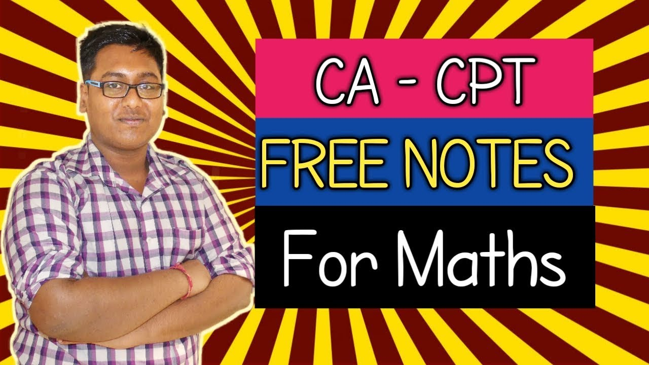 CA CPT FREE NOTES FOR QA(Maths) - YouTube