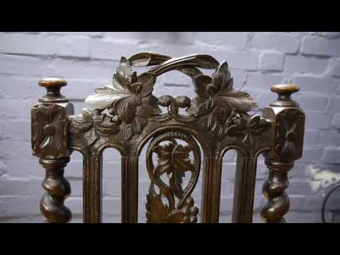 Pair of Victorian Antique Oak Carved Side Hall Chairs