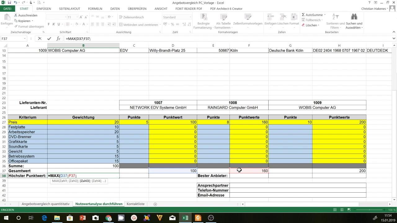 Bwl Wirtschaftslichkeitsrechnung Nutzwertanalyse 12