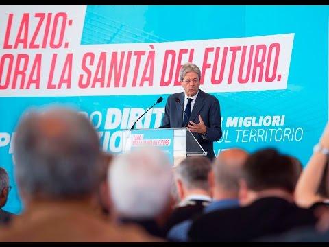 Gentiloni visita ad Ariccia il cantiere del nuovo ospedale dei Castelli Romani