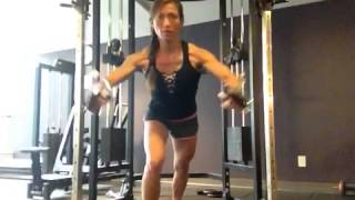 Standing cable chest press (mid-high pulley)