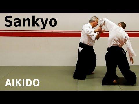 Aikido technique SANKYO on strike and grip attacks, by Stefan Stenudd, 7 dan Aikikai shihan