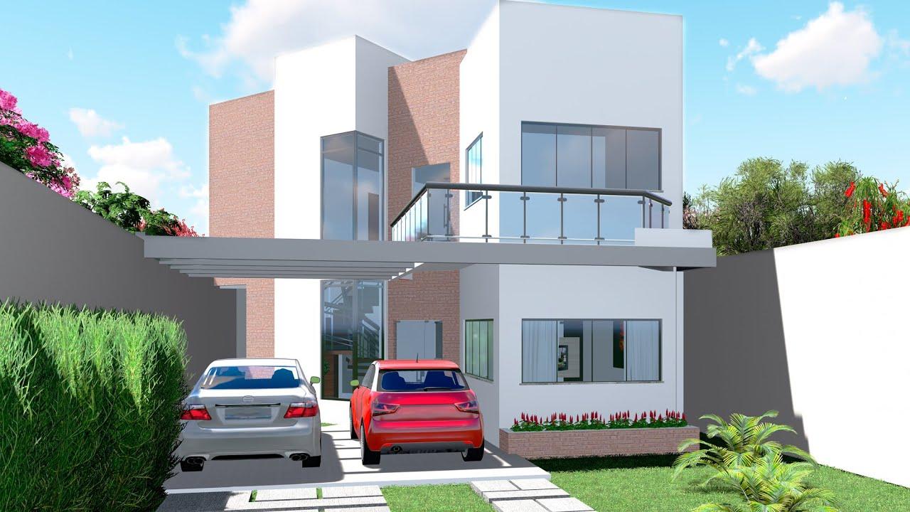 Projeto de casa sobrado moderno com pergolado c d 106 for Casa moderno kl