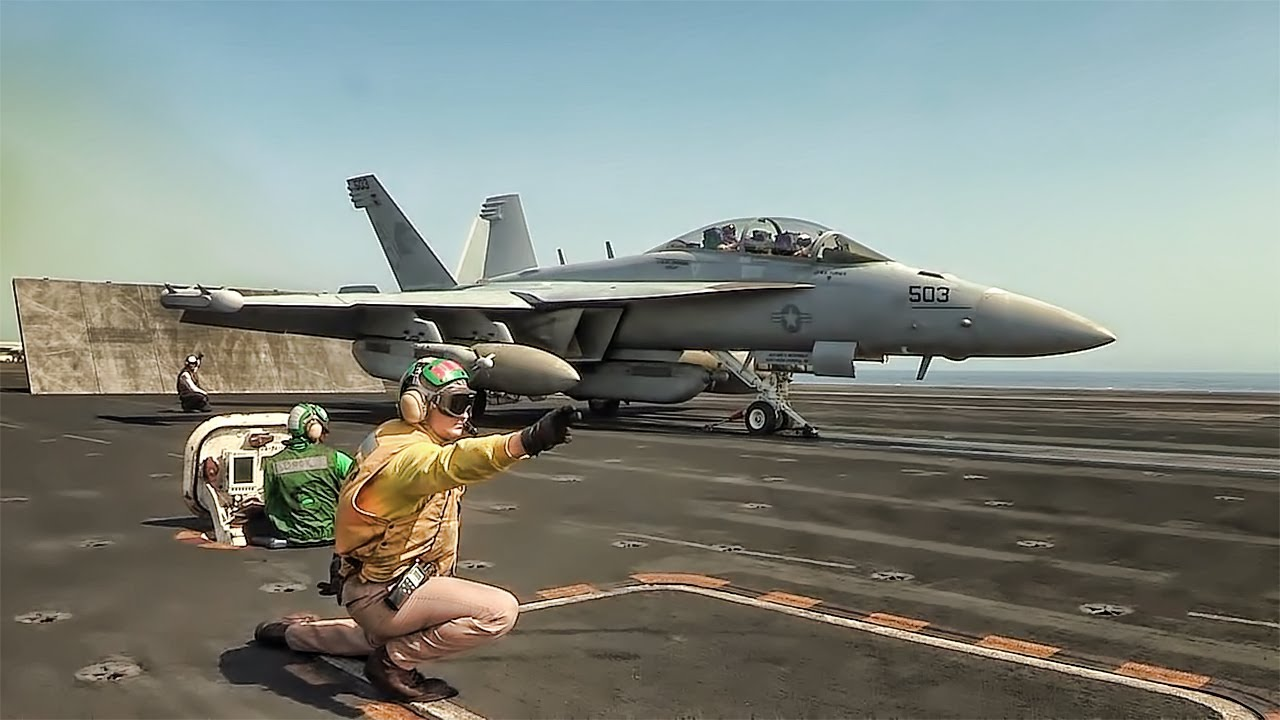 Aircraft Carrier Takeoffs & Landings - YouTube