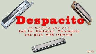 Despacito - harmonica ver2 (tab for harmonica key of C) - lightvspy