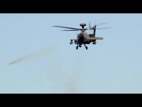 AH-64 Apache Helicopter in Action - Rocket Launch, Machine Gun Live Fire