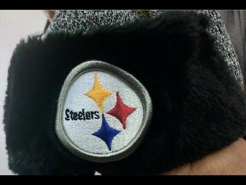 68b16bfca Steelers  FROSTWORK TRAPPER  Gold Knit Hat by New Era - YouTube