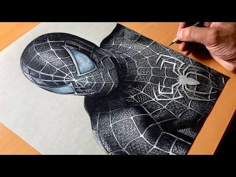 drawing-spider-man-symbiote-suit---black-suited-spiderman---marvel---time-lapse-|-artology