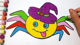 Coloring Spider Cartoon For Halloween    Draw For Kids
