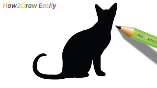 cat drawing draw outline easy sitting silhouette step drawings paintingvalley