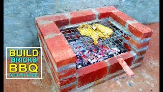 How To Build Bricks BBQ Grill at Home | Build Barbeque Homemade | Craft Village