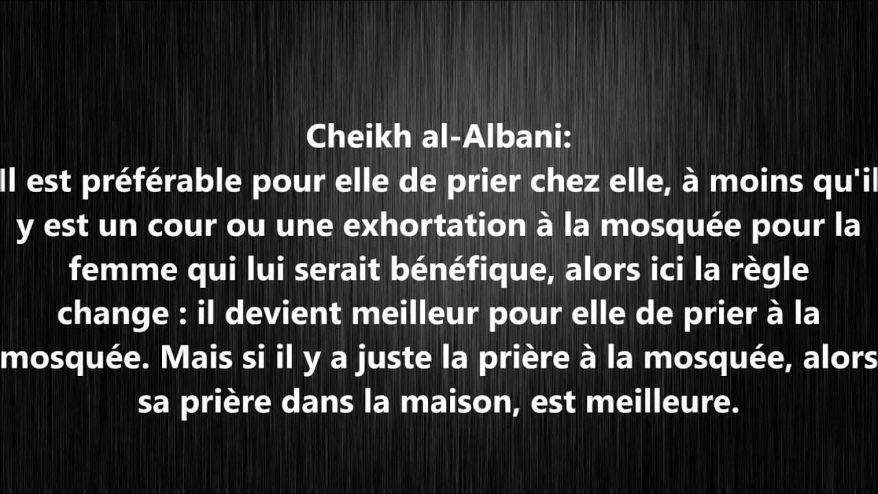 Pri re de la femme la mosqu e ou la maison cheikh al albani youtube - Priere pour coucher une femme ...