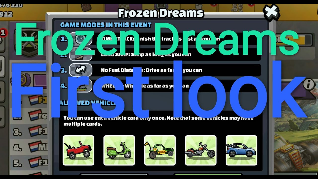 Hcr2 New team event! Frozen Dreams, First look Hill climb racing 2