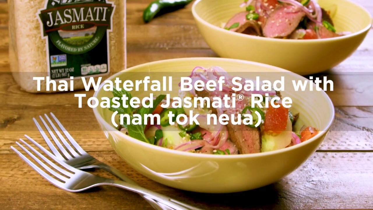 Thai Waterfall Beef Salad with Toasted Jasmati