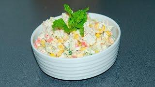Летний салат с крабовыми палочками и кукурузой . Быстро , вкусно и легко...