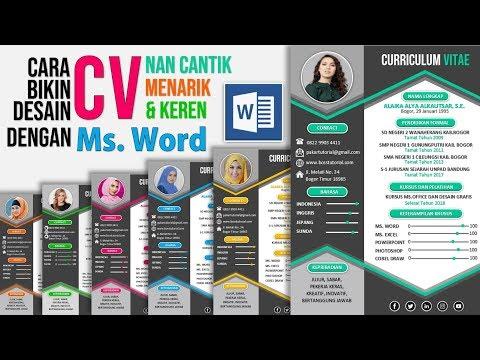 Contoh Cara Buat Cv Lamaran Kerja Dengan Microsoft Word Youtube