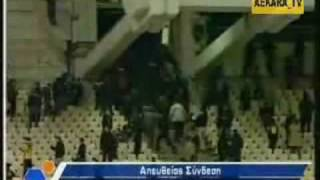 AEK HOOLIGANS riots 600+ AEK HOOLS going for date with green rabbits.pao fans nowhere