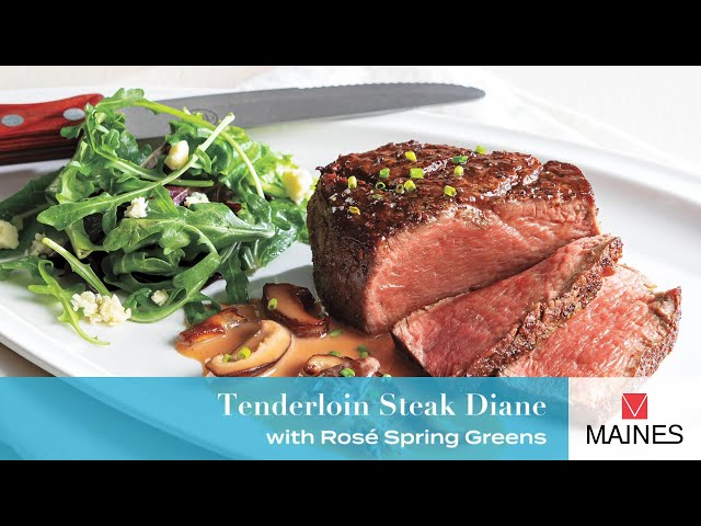 Tenderloin Steak Diane with Rosé Spring Greens